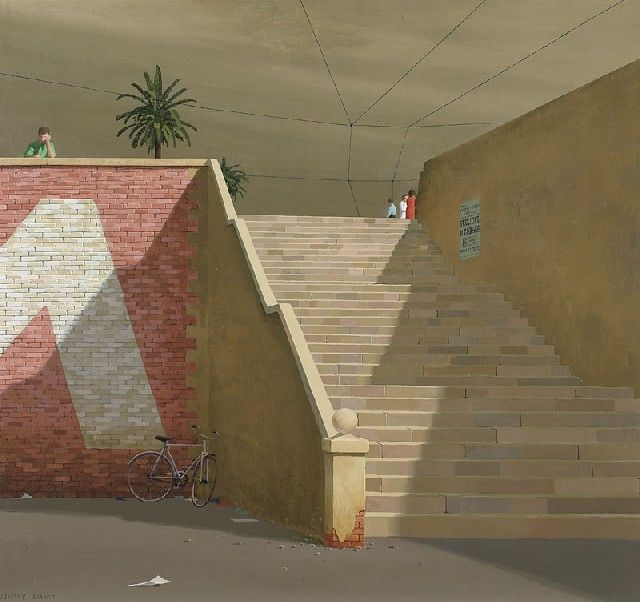 'The Steps' (1967) Jeffery Smart. ( Frank Jeffrey Edson Smart, AO (26 July 1921 – 20 June 2013) was an expatriate Australian painter known for his precisionist depictions of urban landscapes.)