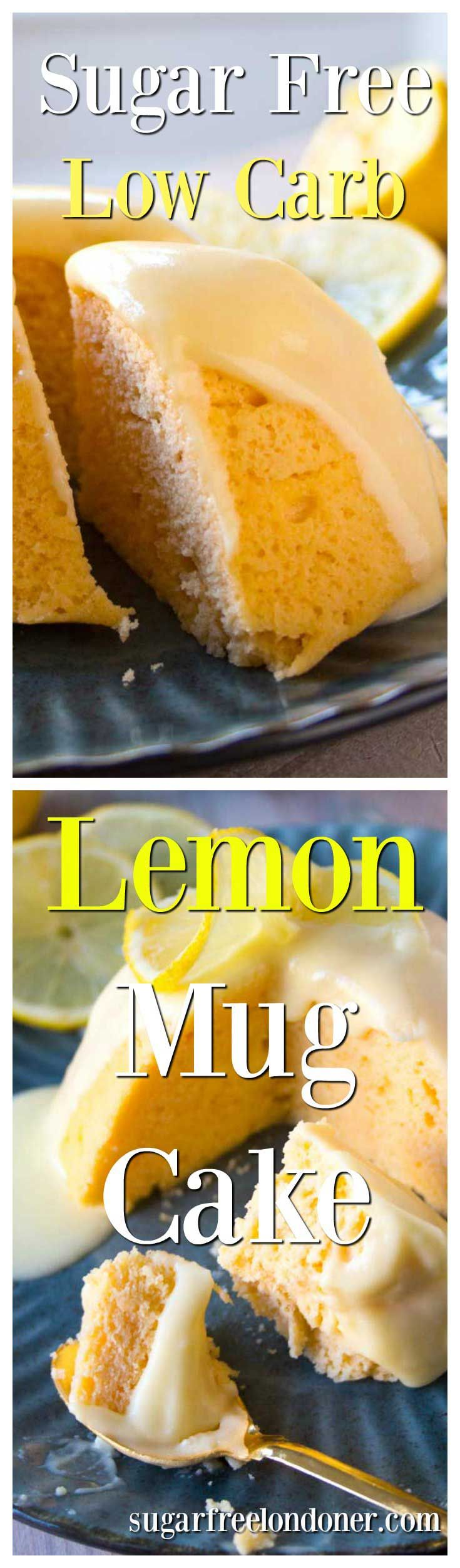 Big flavour, light texture and ready in 3 minutes: Try this easy sugar free lemon mug cake with a deliciously zingy lemon glaze. Low carb, gluten free and keto-friendly.