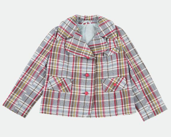 Girls vintage check jacket age 78 by PeachandLoveVintage on Etsy, £45.00