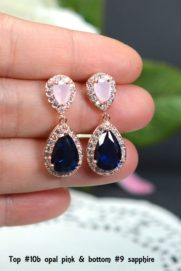 Blush Pink Navy Blue Rose Gold Wedding Jewelry Bridesmaid Gift Bridesmaid  Jewelry Bridal Jewelry Earring Drop