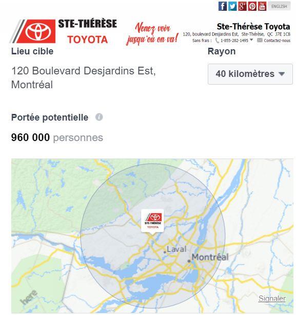 Lieu cible 120 Boul Desjardins Est Ste-Thérèse Toyota