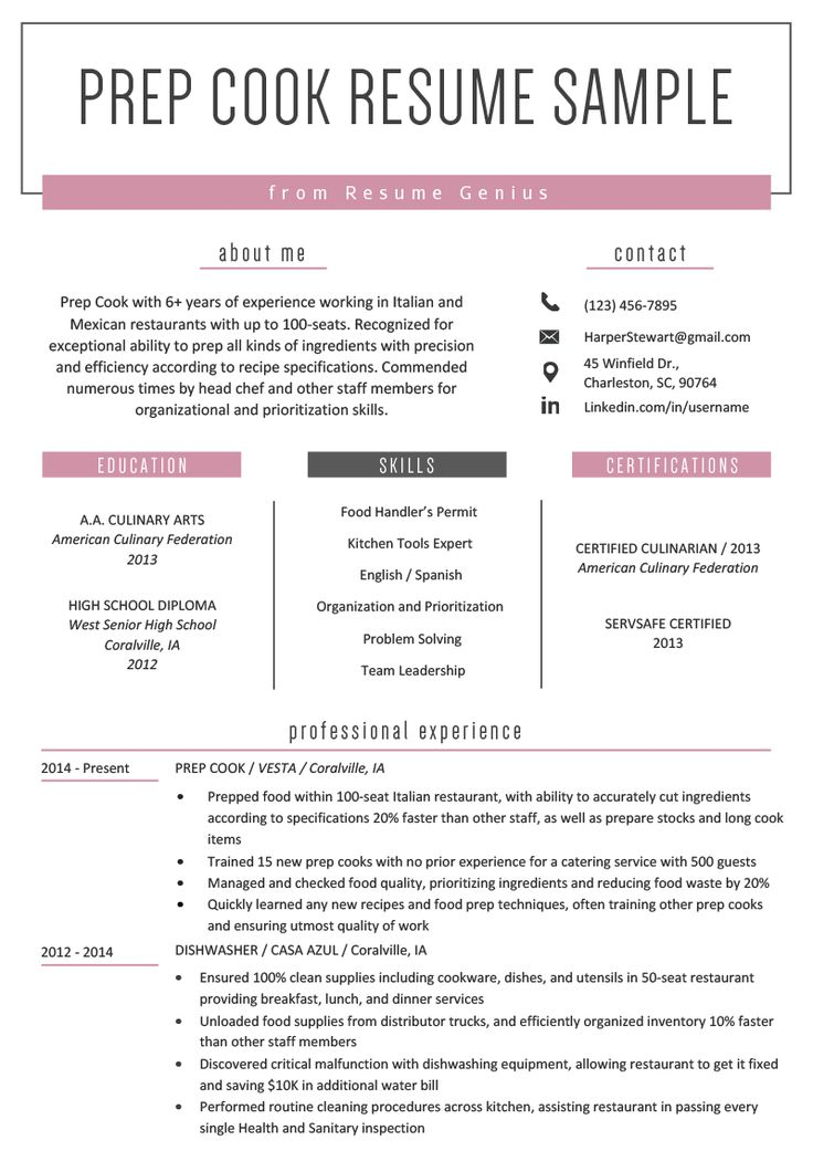 prep cook resume example  writing tips  resume genius