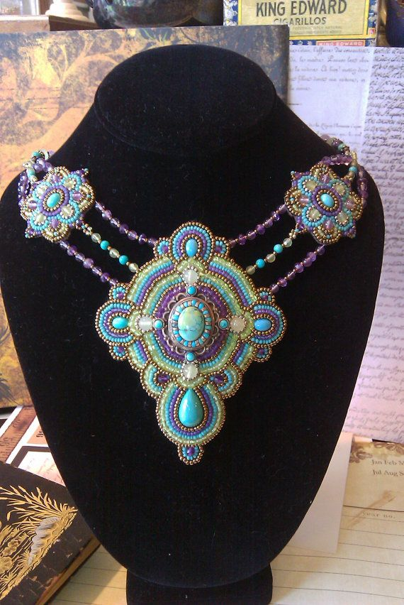 Bead embroidery sterling silver, turquoise, Amethyst, Peridot, Art Deco with an Aztec feel on Etsy, $245.00