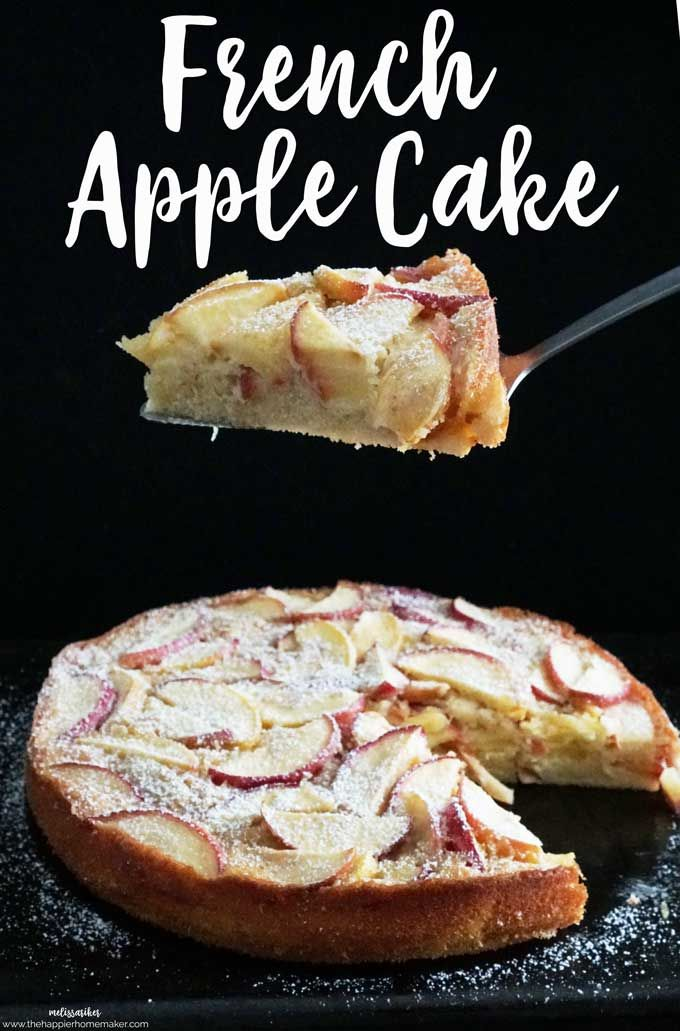 Delicious French apple cake is an easy dessert recipe that pulls together quickly but looks and tastes like it came from a high end bakery! Dense creamy base with a light fluffy cake layer on the top.