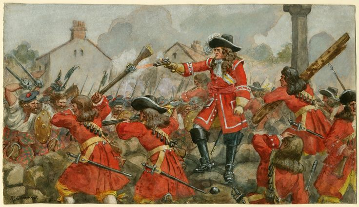 The Earl of Angus's Regiment(The Cameronians) at the defence of Dunkeld, 1689 by R.Simkin