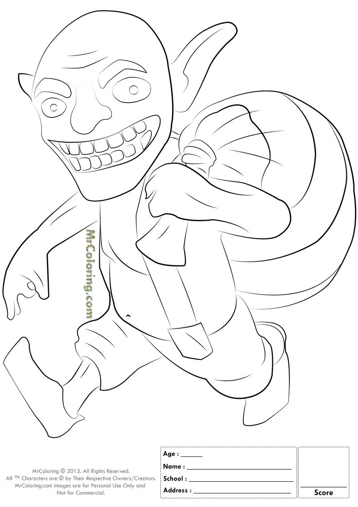 free printable clash of clans goblin coloring pages