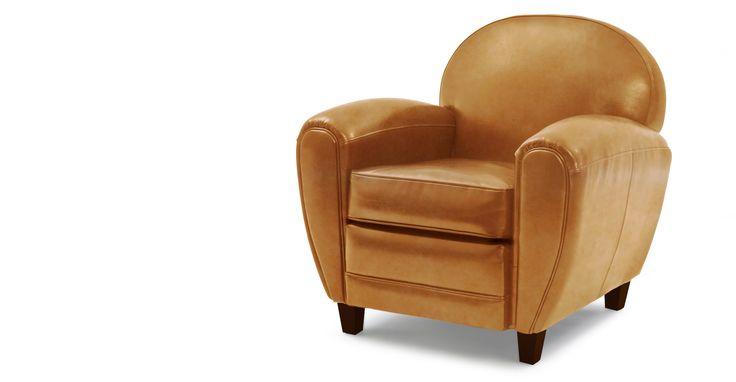 Jazz, un fauteuil club cuir coloris cognac | made.com