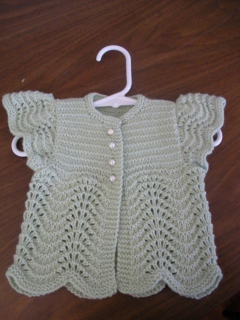 knittily's adorable sweater - cute baby sweater with feather-and-fan lace! 2 skeins of Zealana Willow DK yarn to knit Oat Couture's Angel Sweater for Baby