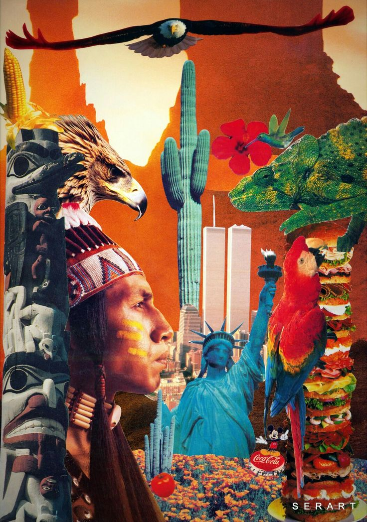 Real Native American Indians USA Eagle Chameleon Totem Hamburger Humming Bird Statue of Liberty Twins Towers Cactus Hibiscus Corn Mikey Mouse Disney Coca Cola Tomatoes Collage Art by Stelios Serras Serart