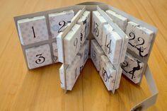 Zur Abwechslung mal wieder ein Adventskalenderchen. Diesmal ein Adventskalenderbuch Jeden Tag eine kleine Box öffnen, es passt genau...