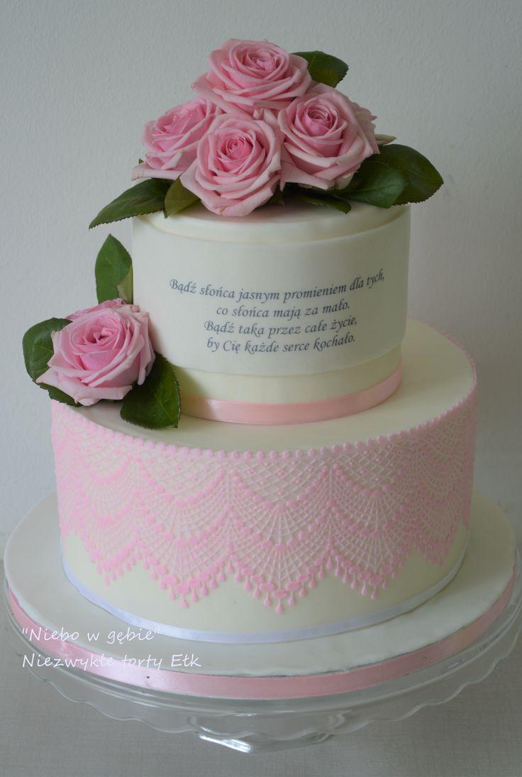 #tort #elegancki #róże #kwiaty #koronka  #80urodziny #sentencja