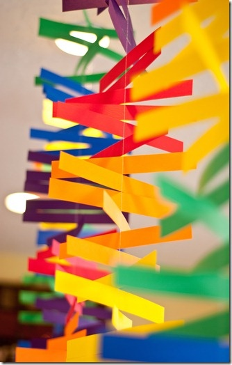 Ribbons and paper mobiles...hot colors for Pentecost?