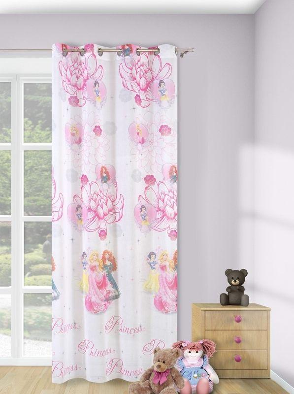 Kwiaty księżniczki zasłony do pokoju dziecka w kolorze różowo białym