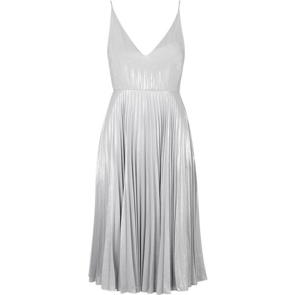 TopShop Plunge Pleated Midi Dress ($120) ❤ liked on Polyvore featuring dresses, silver, midi prom dress, prom dresses, plunge midi dress, mid calf dresses and strappy dress
