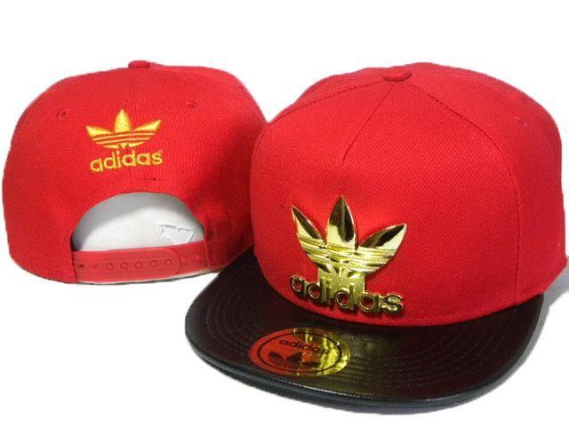 Mens Adidas The Adidas Original Gold Metal Logo Trending Fashion PU Leather  Visor Snapback Cap - Red   Black  5dc63b4963e