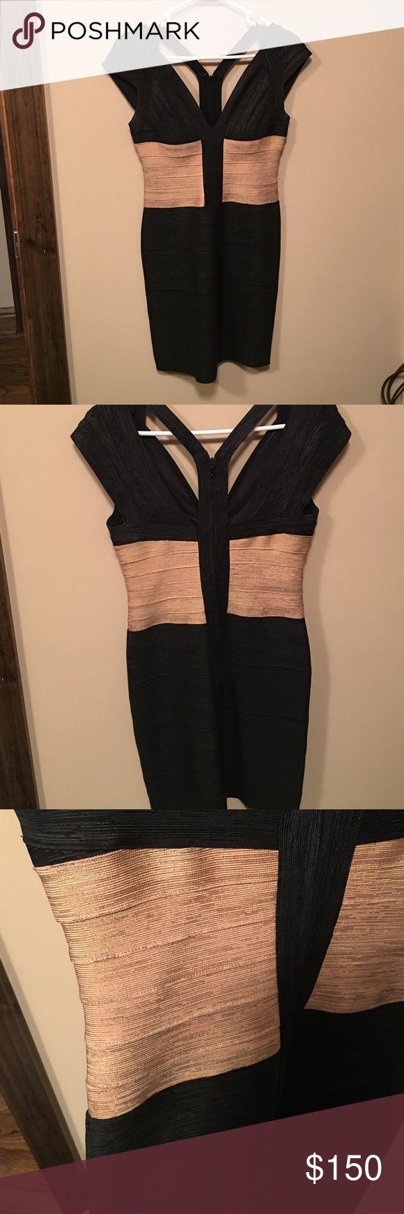 MacDuggal Black and Gold Bandage Dress Worn once. Macduggal Dresses Mini