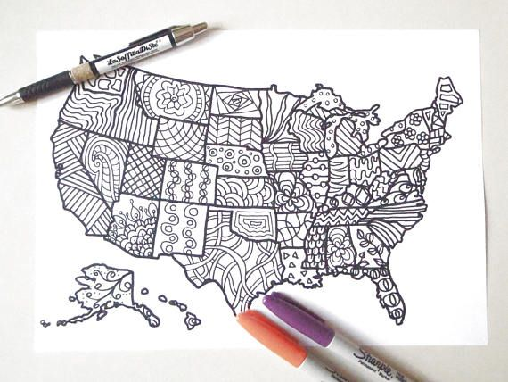 usa colouring map united states america book planner journal