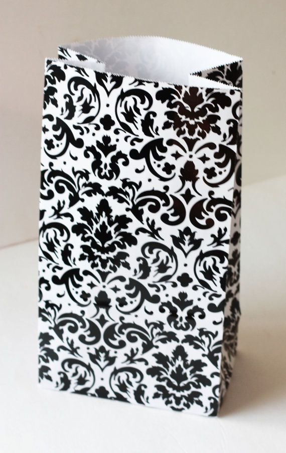 """10 Black and White Damask Gift Sack 6"""" x 11"""" Party Supplies treat bags Gift Wrapping Bag Party Favors Girls Birthday Baby Bridal Shower"""
