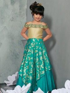Party Wear Designer Aqua Gown For Kids Girls Wear Gown Flower Girl