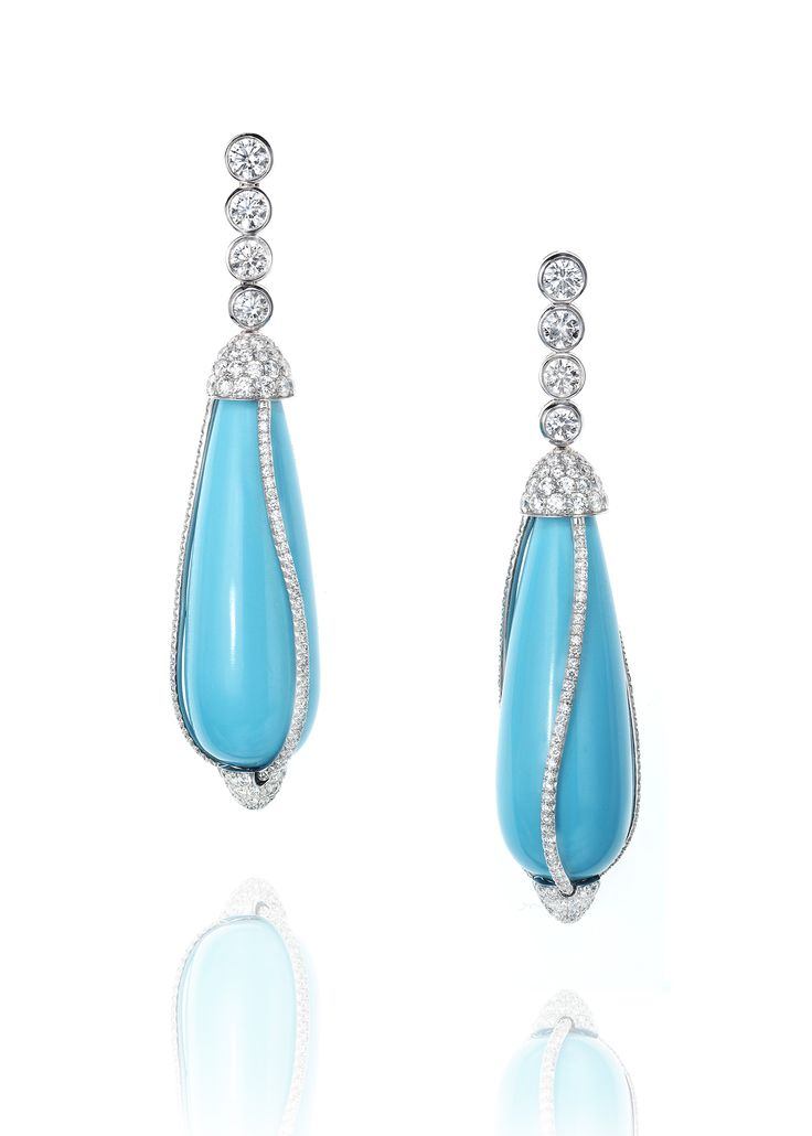 Turquoise And Diamond Pendant Earrings In 2019