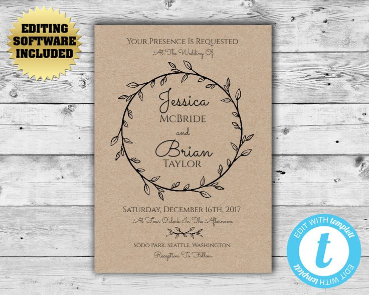 Kraft Paper Wedding invitation - Rustic Wedding Invitation Template - Printable Kraft Invitation - DIY Wedding Template- Instant Download - by MintedMemories on Etsy