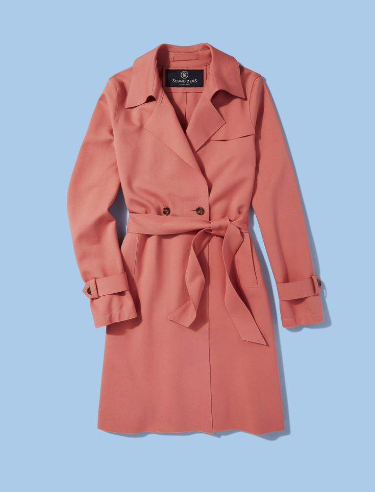 Give your workwear wardrobe a spring-ready boost with Schneiders' salmon-pink tailored Ilka coat. Cinch the belt with a stylish knot and accent the tortoiseshell buttons with chunky gold jewellery.