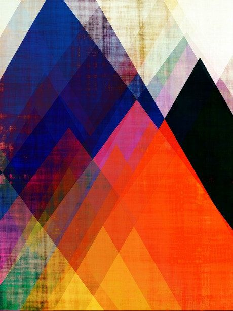 Geometric print, modern art, contemporary art, mountain ...