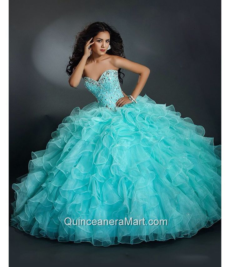 A beautiful aqua blue quinceañera dress ❤️