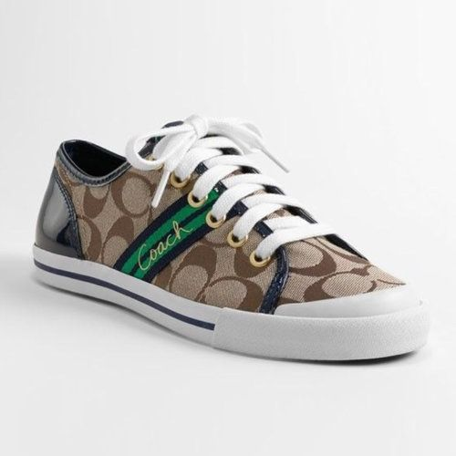 coach folly navy blue green brown and white tennis shoe