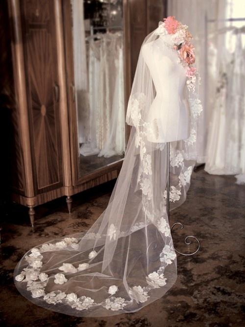 Velo largo y grande, puede hacer a la novia más elegante.
