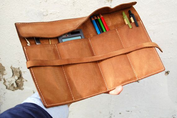 Personalized leather pencil case wrap, tool bag roll ,pencil organizer,tool organizer roll , makeup case,sand crazy horse leather