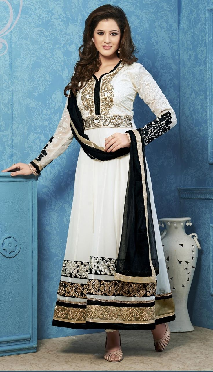 Off White Anarkali Churidar, Georgette Anarkali Churidar, €43.21. Buy latest Anarkali Churidar with custom stitching and worldwide shipping.