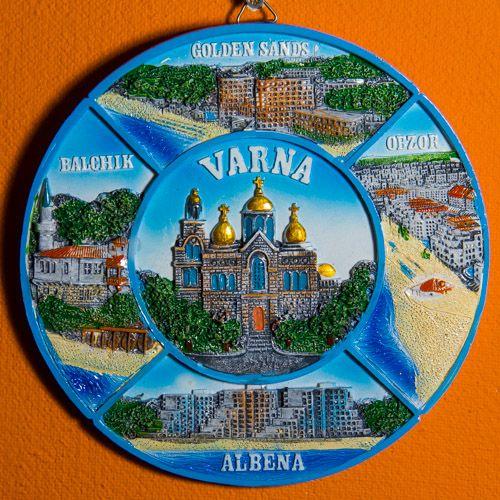 Souvenir Plate: Bulgaria. Bulgarian Resorts: Varna, Golden Sands, Obzor, Albena, and Balchik (Collage, Diameter 14 cm)