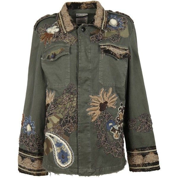 Military Green Embroidery Jacket (€1.025) ❤ liked on Polyvore featuring outerwear, jackets, military green, collar jacket, multi color jacket, green camo jacket, colorful jackets and embroidery jackets