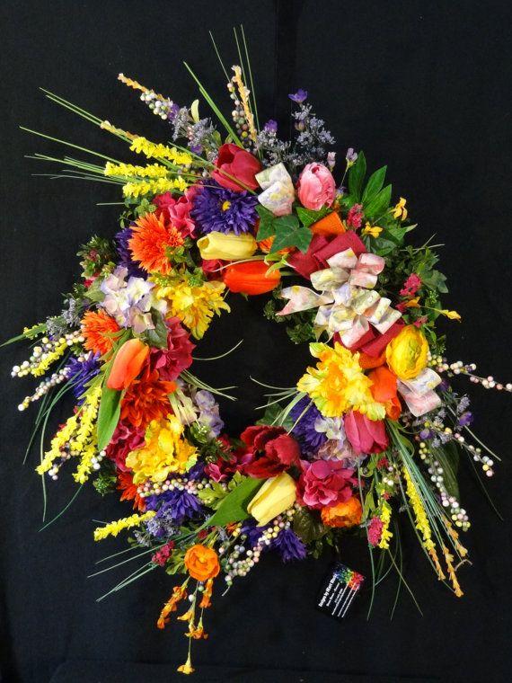 Summer Wreath, Spring Wreath, Grapevine Wreath, front door wreath, floral wreath, Luxury wreath, Silk Flower Wreath, Double Door Wreaths