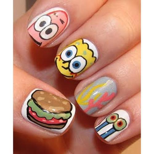 We Heart ItNails Art, Cute Nails, Nailart, Nails Design, Sponge Bobs, Nailsart, Nail Art, The Sea, Spongebob Nails