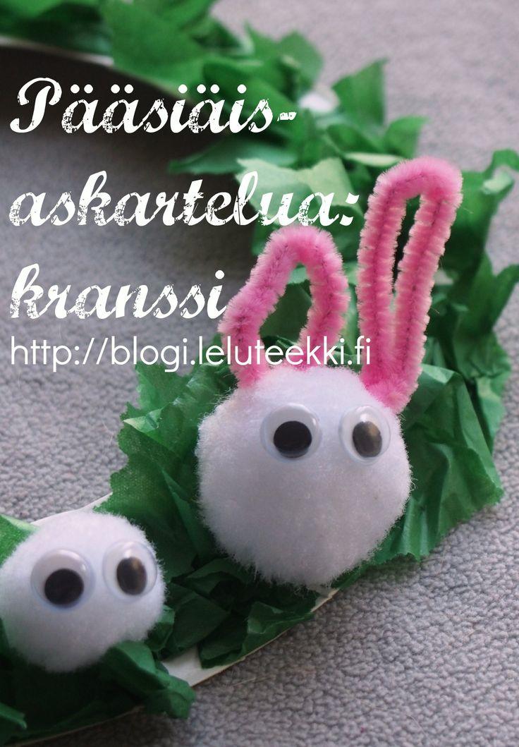 Kiva pääsiäisaskartelu lapsille: kranssi http://blogi.leluteekki.fi  #askarteluohjeita #askartelu #lapsille #pääsiäinen #kranssi #pääsiäisaskartelua