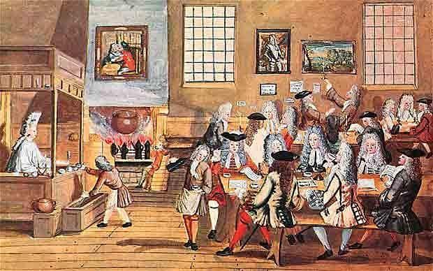Una ilustración 1668 que muestra una casa de café Londres contemporáneo