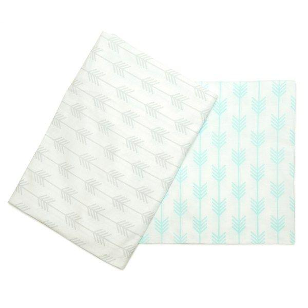 Bedding Set - Arrow | 100% Cotton Percale | Available: Standard Cot Size Duvet cover (incl pillowcase) | Single Bed Duvet cover (incl pillowcase) | Fitted Sheet | Fitted Sheet Size: 130 x 64 x 10 cm | Baby Duvet Size: 80 x 120 cm | Pillow Size: 30 x 40 cm | Colour: Grey / Mint
