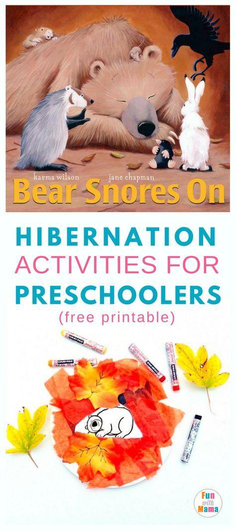 Bear snores On| Ideas| Fun| Preschool| Free printables| Craft #bookcrafts #hibernation #science #homeschool