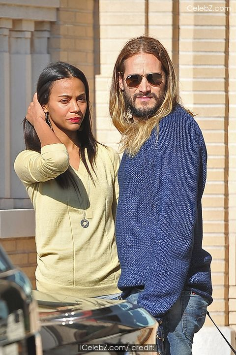 Zoe Saldana leaves Barneys with her husband Marco Perego and her adorable rescue dog Mugsy http://www.icelebz.com/events/zoe_saldana_leaves_barneys_with_her_husband_marco_perego_and_her_adorable_rescue_dog_mugsy/