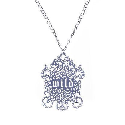 WILD silver-tone engraved pendant with leopard print by KiviMeri.com