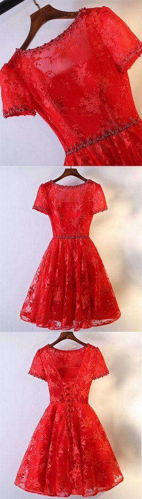 Pretty A-line Floral Prints Lace Beading Short Sleeve Lace Up Back Red Homecoming Prom Dresses This homecoming dress could be custom made, there are no extra cost to do custom size and color.Description of homecoming dress1, Material:lace,bead2, Color: picture color or other colors, there are 126 colors are available, please contact us for more colors, please ask for fabric swatch by this link: https://www.sposabridal.com/collections/extra-cost/products/fabric-sw...