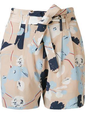 Shorts floral de seda                                                                                                                                                                                 Mais