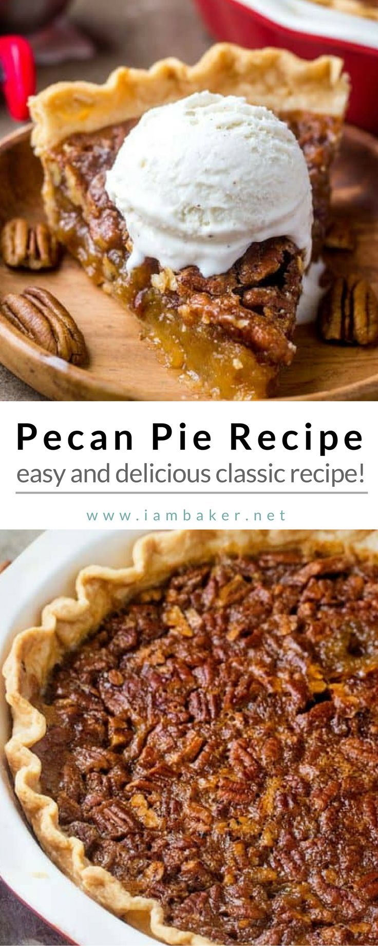 Looking for healthy homemade dessert for your family? This Pecan Pie Recipe is what you're looking for. | I Am Baker For more quick and easy dessert recipes to make, check us out at #iambaker.  #desserts #sweettooth #easyrecipe