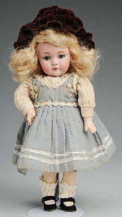 Kestner Doll; Bisque, Child #143, Blue Sleep Eyes, Open Mouth, 9 inch.