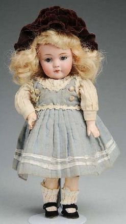 Kestner Doll; Bisque, Child #143, Blue Sleep Eyes, Open Mouth, 9 inch.
