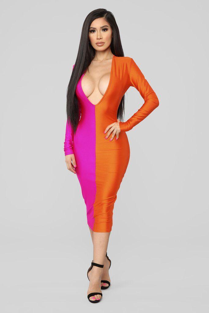 75208b710a6d Rainbow Sherbet Midi Dress - Neon Pink Orange