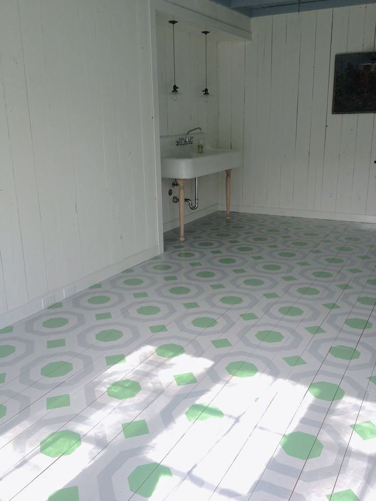 Collaborating with Royal Design made this custom stencil and hexagon patterned floor possible.