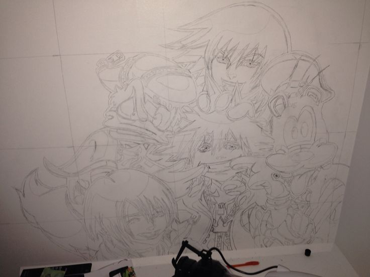 Kingdom Hearts Mural. The start of my very first mural. Done with only one parent's permission. The other one was out of the country and couldn't say no.